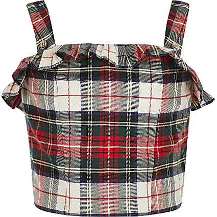 Girls red check crop top