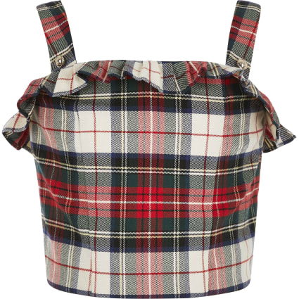 Girls red tartan print crop top