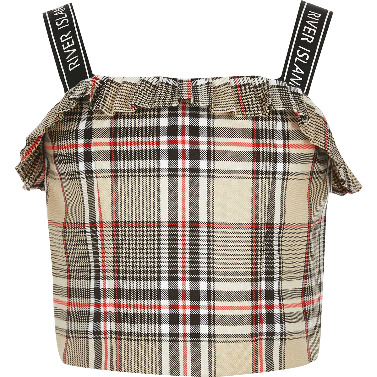 Girls beige check print crop top