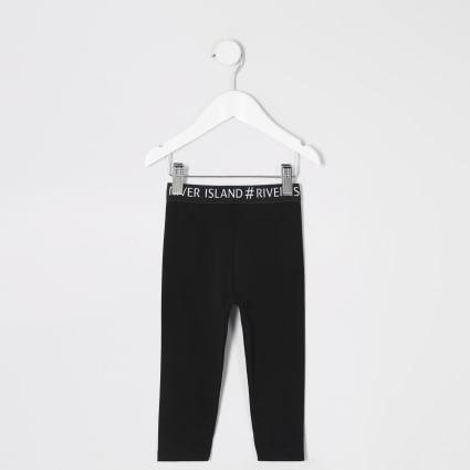 Mini girls black RI waistband leggings