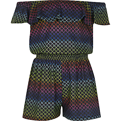 Girls black rainbow RI monogram playsuit