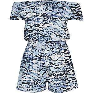 Combi-short à imprimé animal bleu pour fille