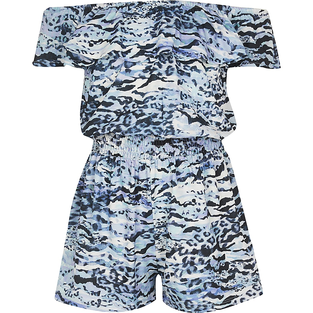 Girls blue animal print playsuit