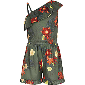 Girls khaki floral one shoulder playsuit