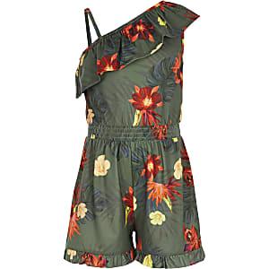 Kaki playsuit met bloemenprint en asymmetrische schouders voor meisjes