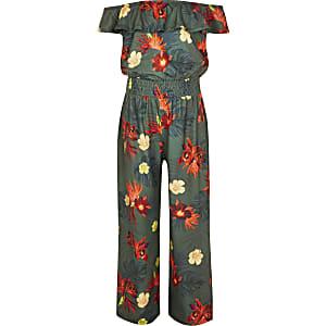 Kaki bardot-jumpsuit met tropische print