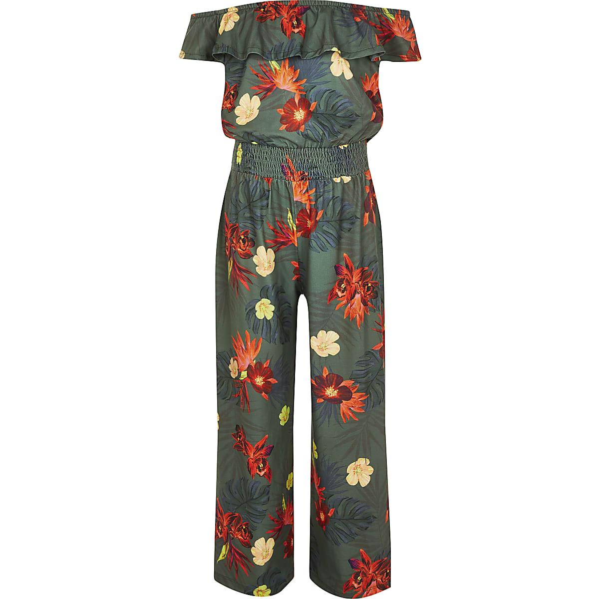 Girls khaki tropical bardot jumpsuit