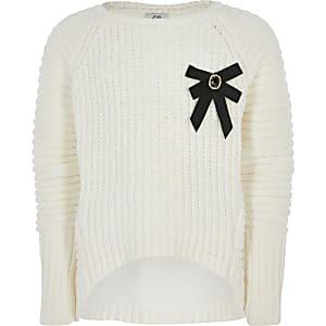 Crème chenille gebreide pullover met strik voor meisjes