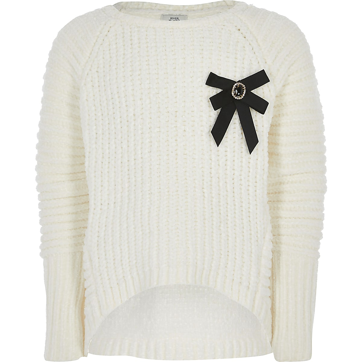 Girls cream bow front chenille knitted jumper