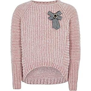 Roze gebreide pullover voor meisjes met strik voor
