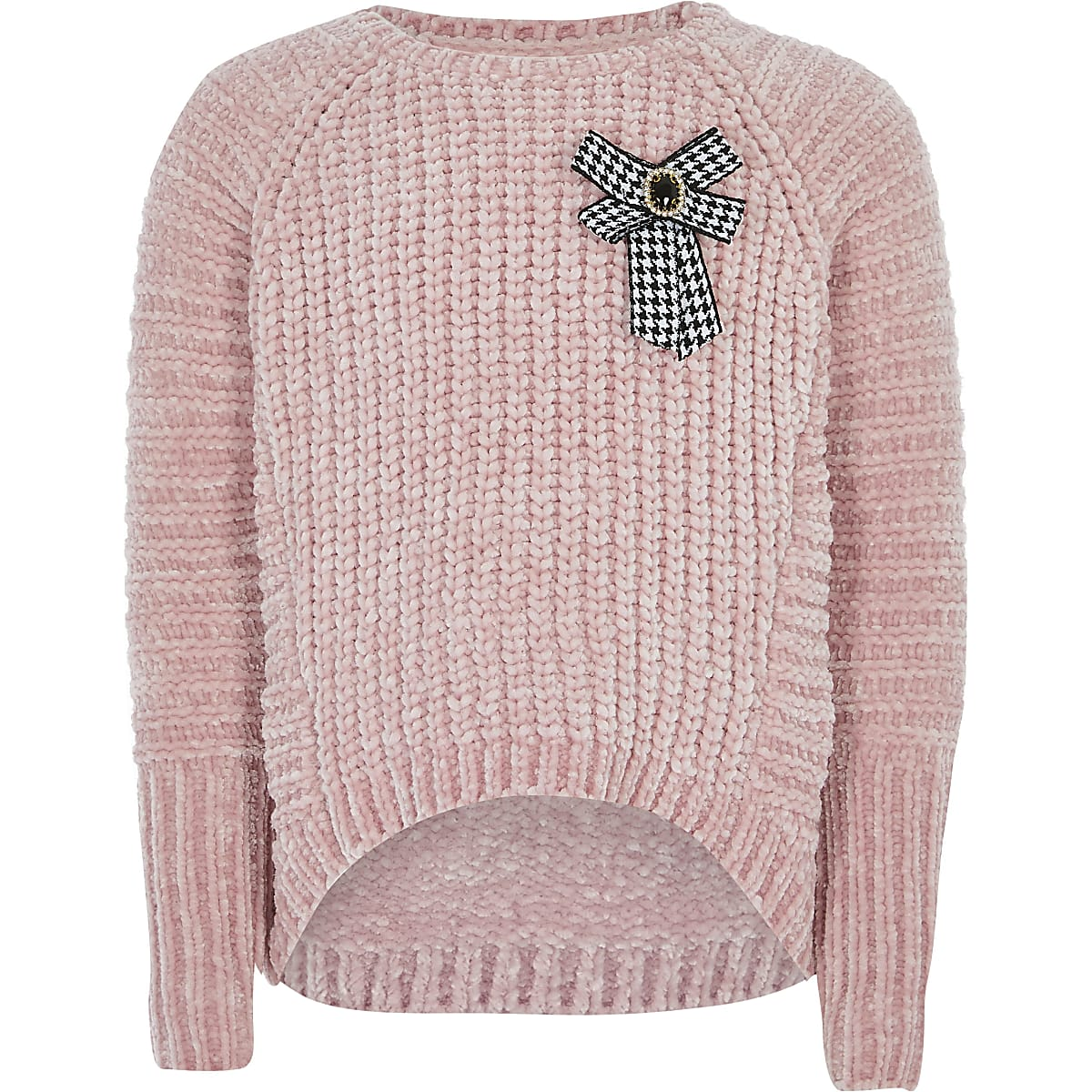 Girls pink bow front knitted jumper