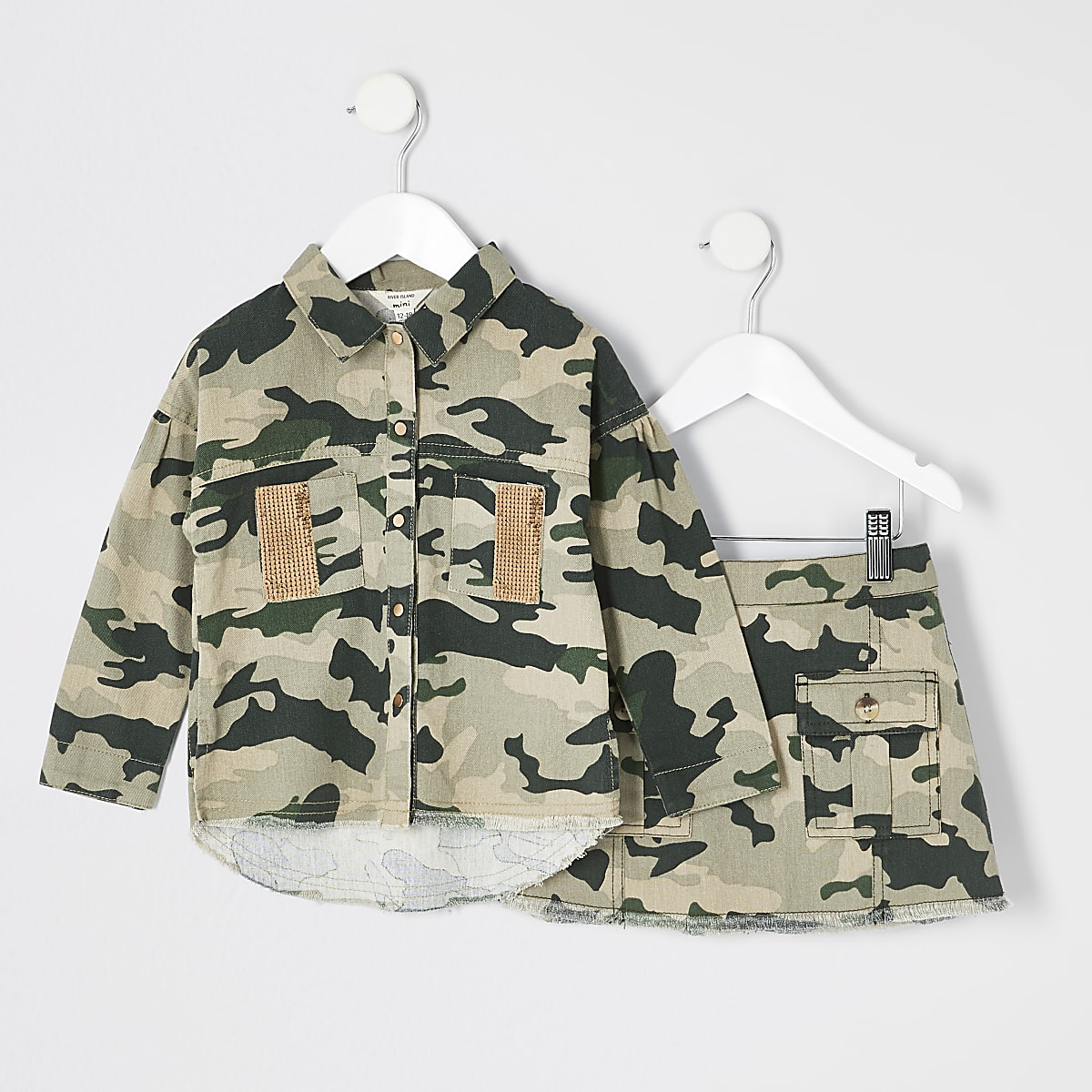 Mini girls camo shacket and skirt outfit