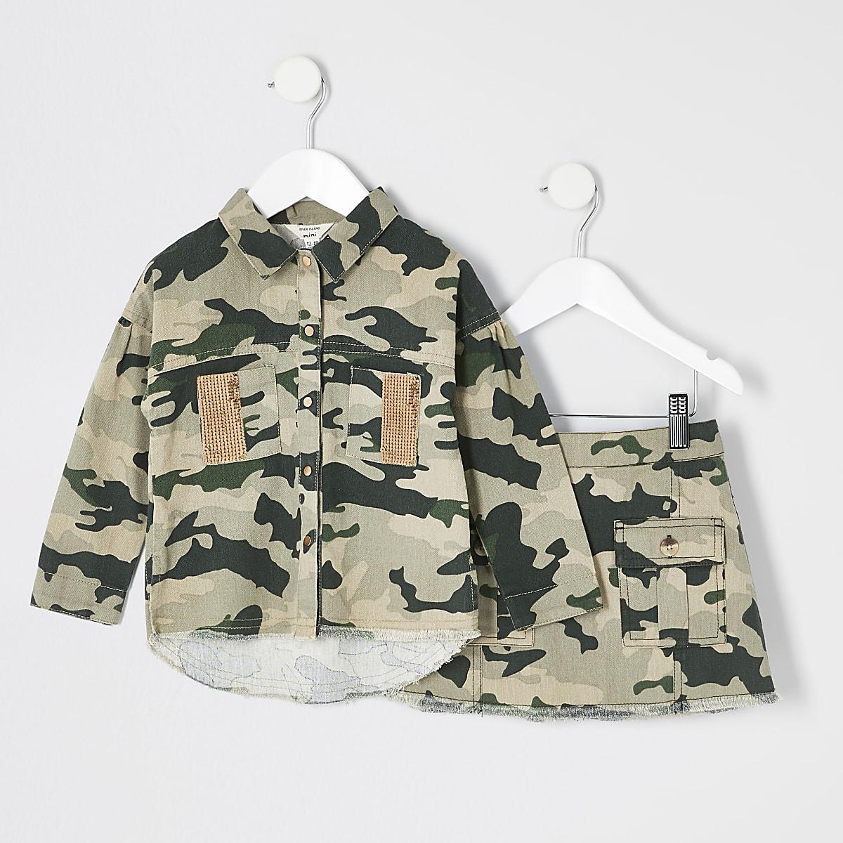 Mini - Outfit met shacket en rok met camouflageprint voor meisjes