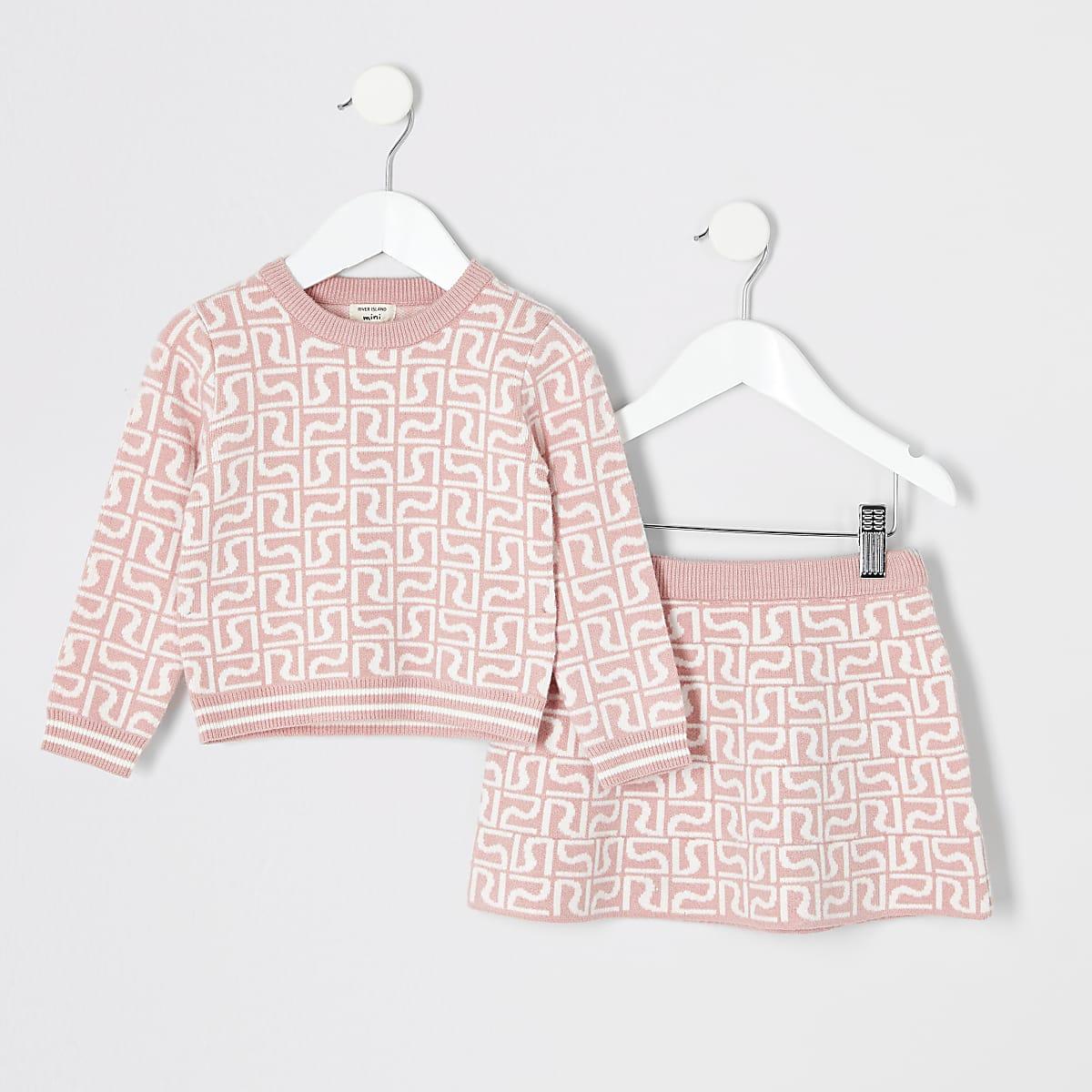 Mini - Outfit met roze pullover met RI-monogram voor meisjes