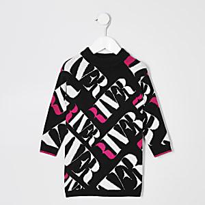 Schwarzes Trägerkleid mit RI Monogramm für kleine Mädchen