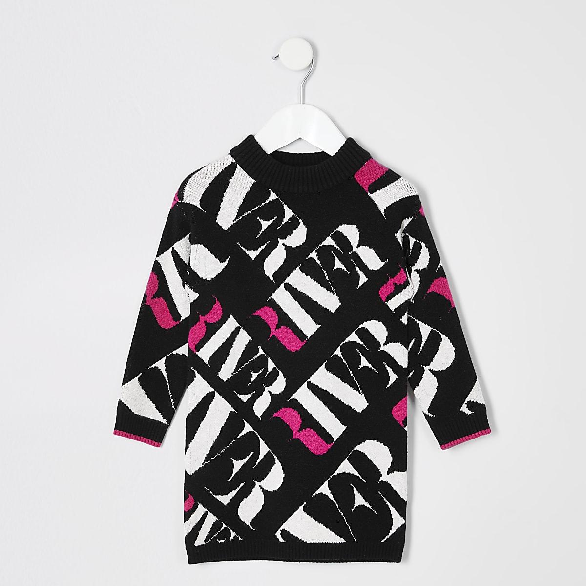 Mini - Zwarte trui-jurk met RI-monogram voor meisjes