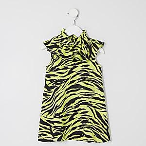 Mini - Neon-groen jurkje met ruche en zebraprint