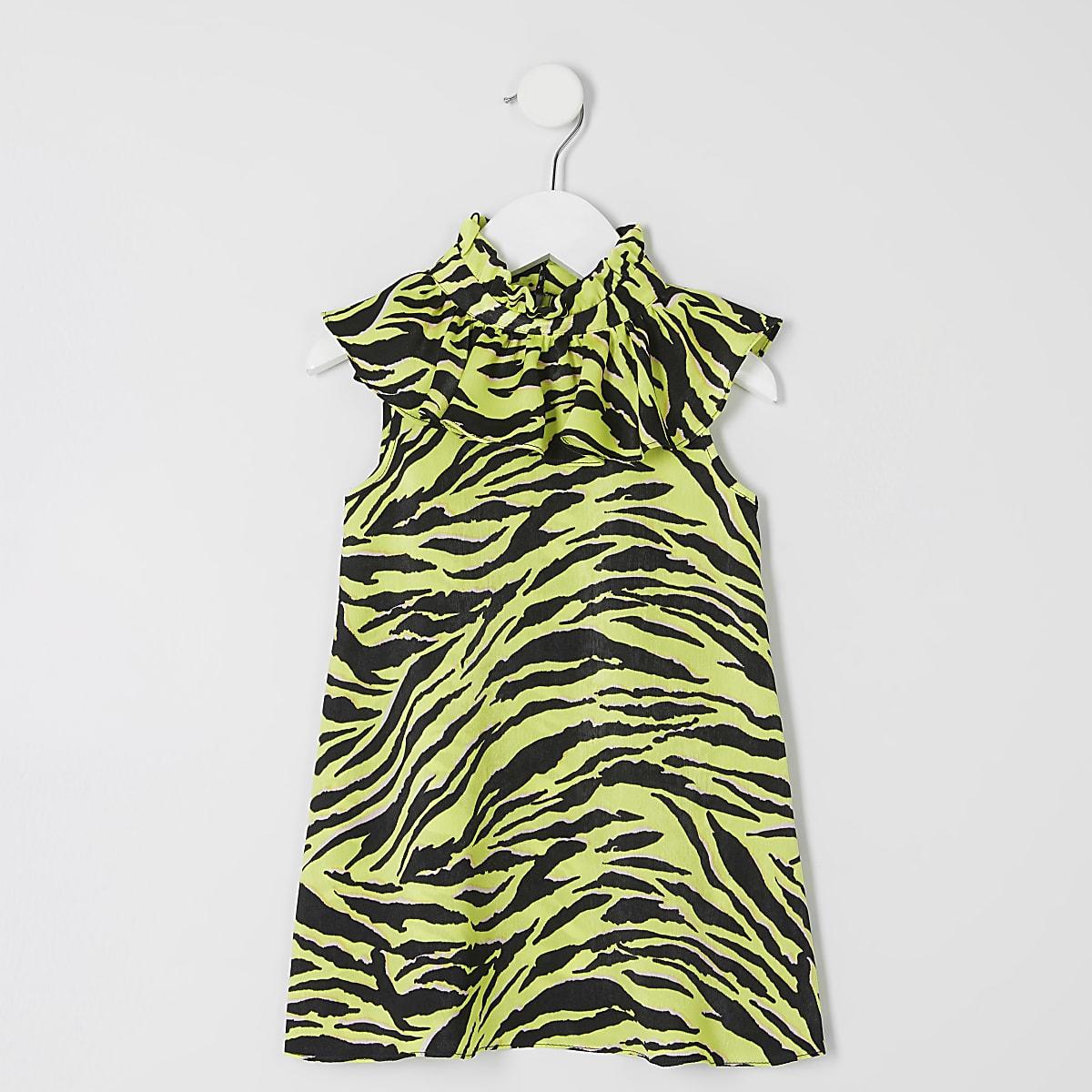 Mini girls neon green zebra print frill dress