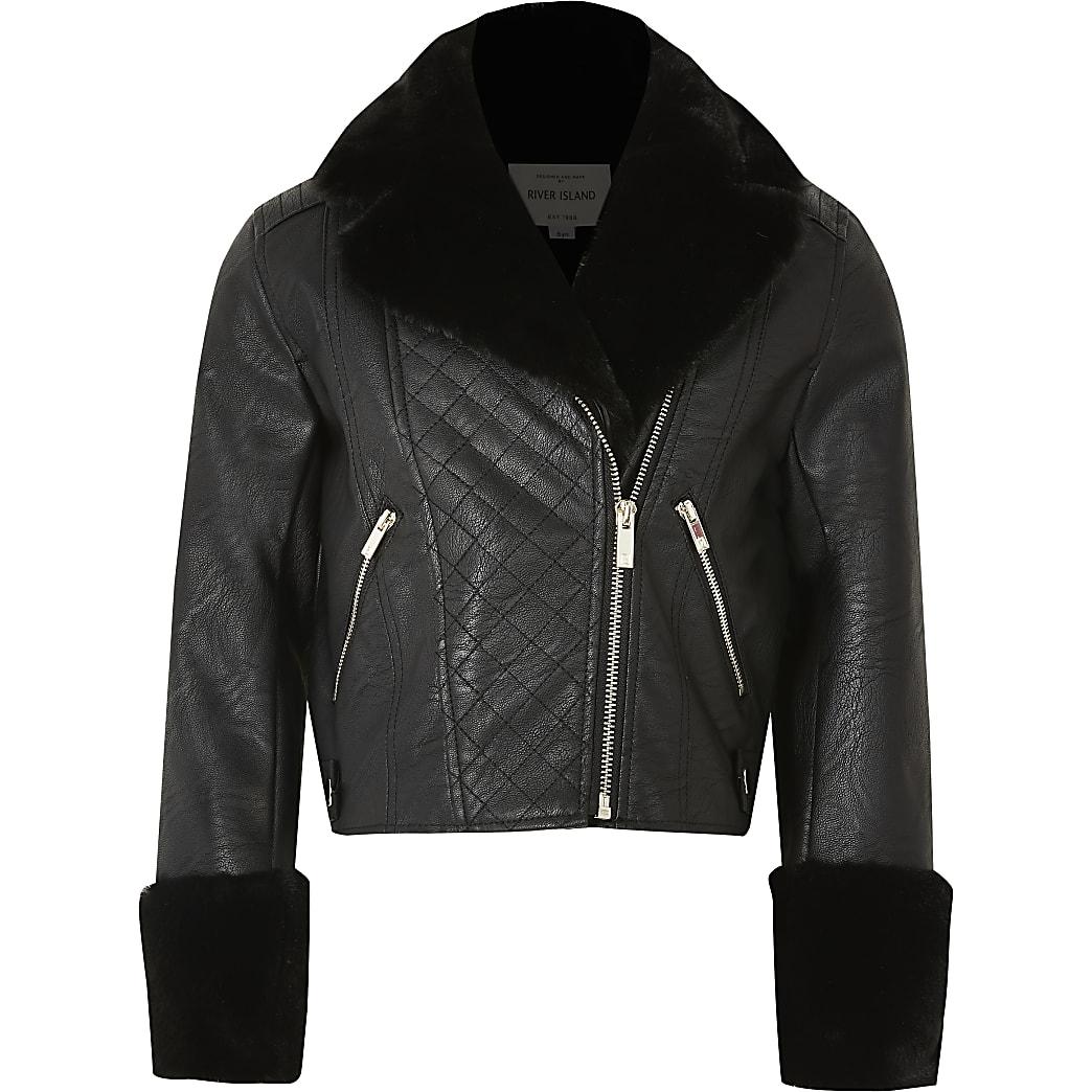 Girls black faux fur cuff biker jacker