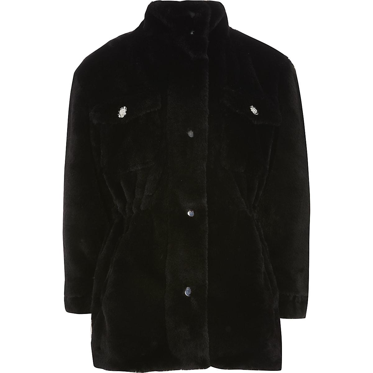Girls black faux fur parka jacket