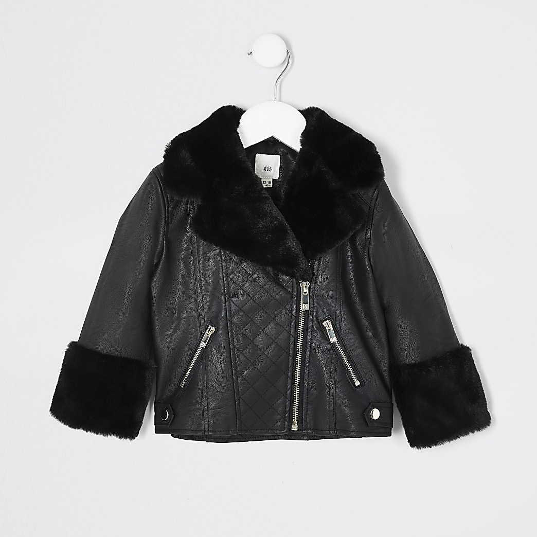 Mini girls black faux fur biker jacket