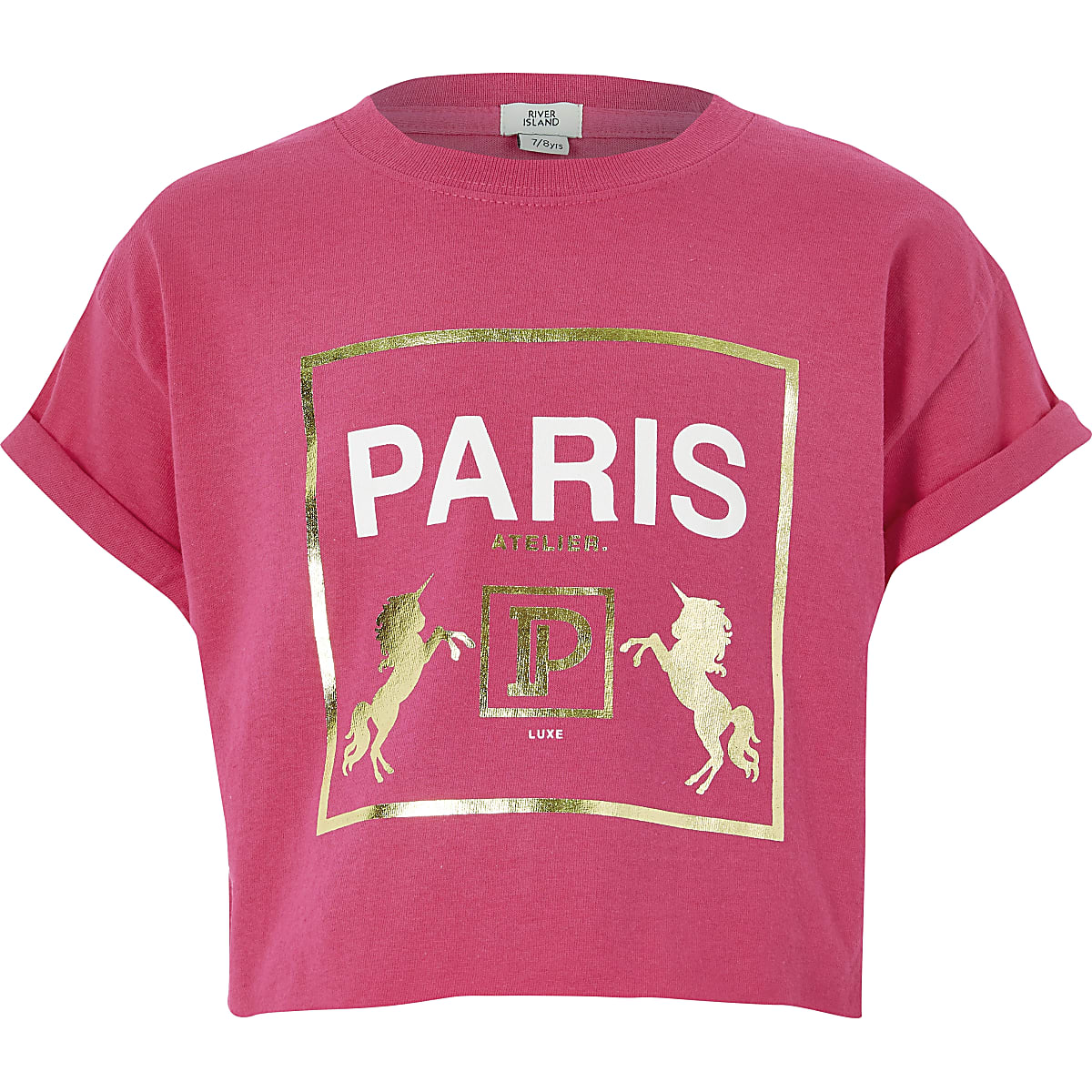 Girls pink 'Paris' printed T-shirt
