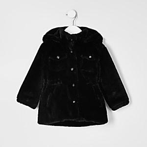 Mini – Schwarze Utliity-Jacke für Mädchen aus Kunstfell