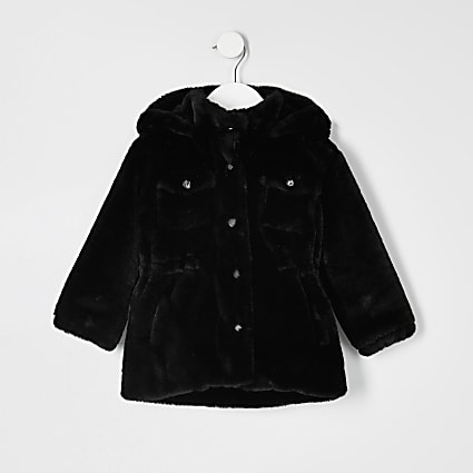 Mini girls black faux fur utility jacket