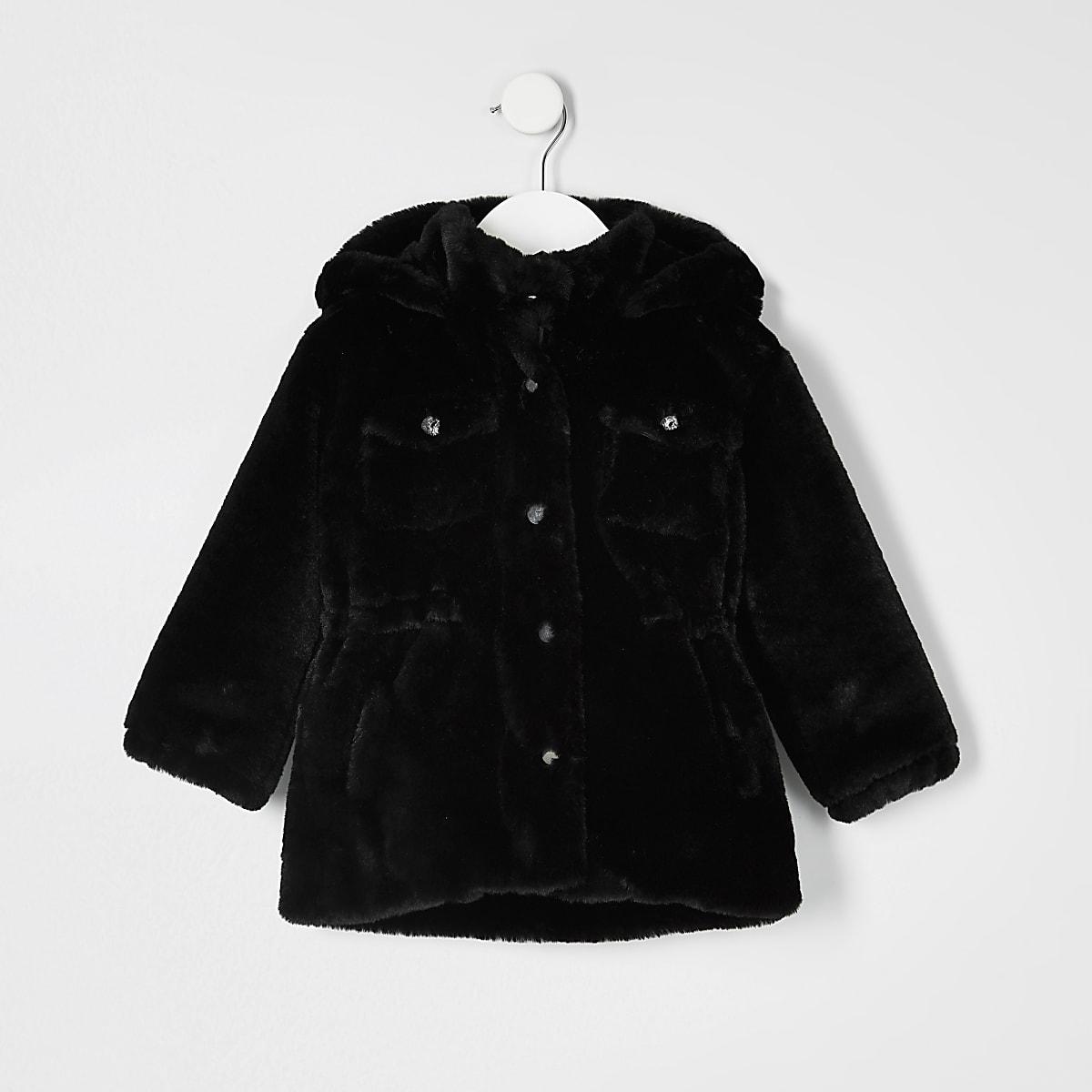 Mini - Zwart utility jack van imitatiebont voor meisjes