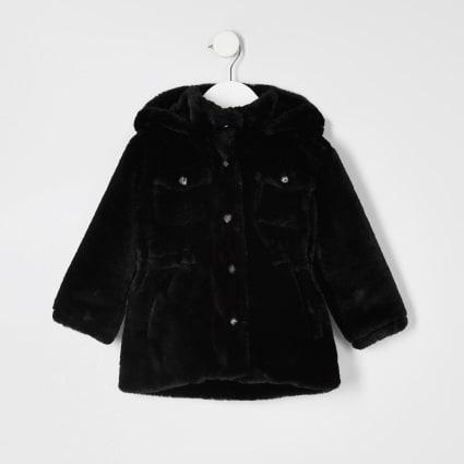 Mini girls faux fur hooded parka jacket
