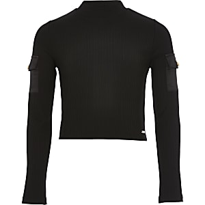 Girls black ribbed high neck utility top