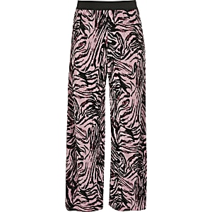 Girls pink zebra print trousers