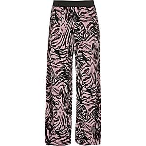 Pantalon imprimé zèbre rose pour fille