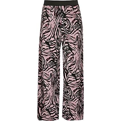 Girls pink zebra print trousers