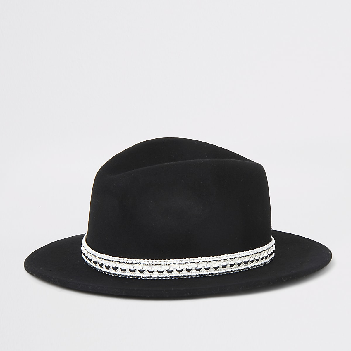 Girls black fedora western hat