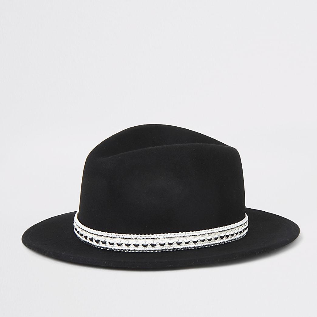 Girls black fedora western hat