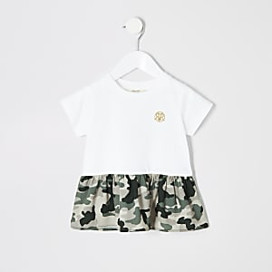 Mini - Wit T-shirt met peplum en camouflageprint voor meisjes
