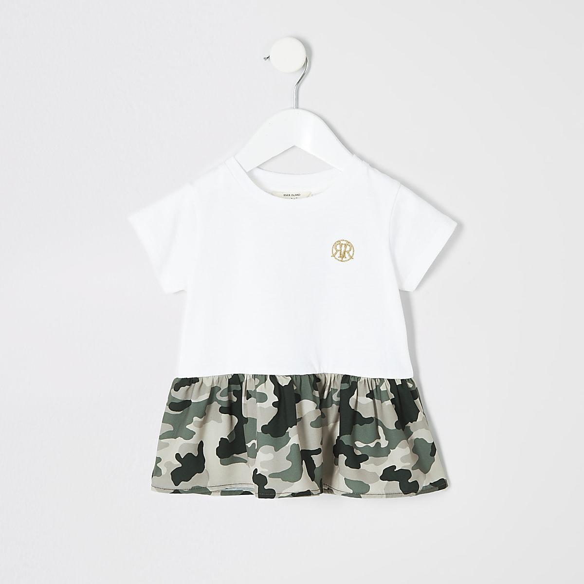 Mini girls white camo peplum hem T-shirt
