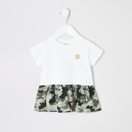 Mini girls white camo peplum hem T-shirt