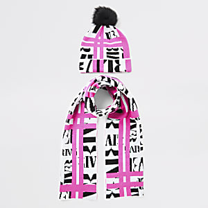 Ensemble avec écharpe et bonnet rose fluo avec impriméRI pour fille