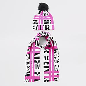 Neon roze set van muts en sjaal met RI-print voor meisjes