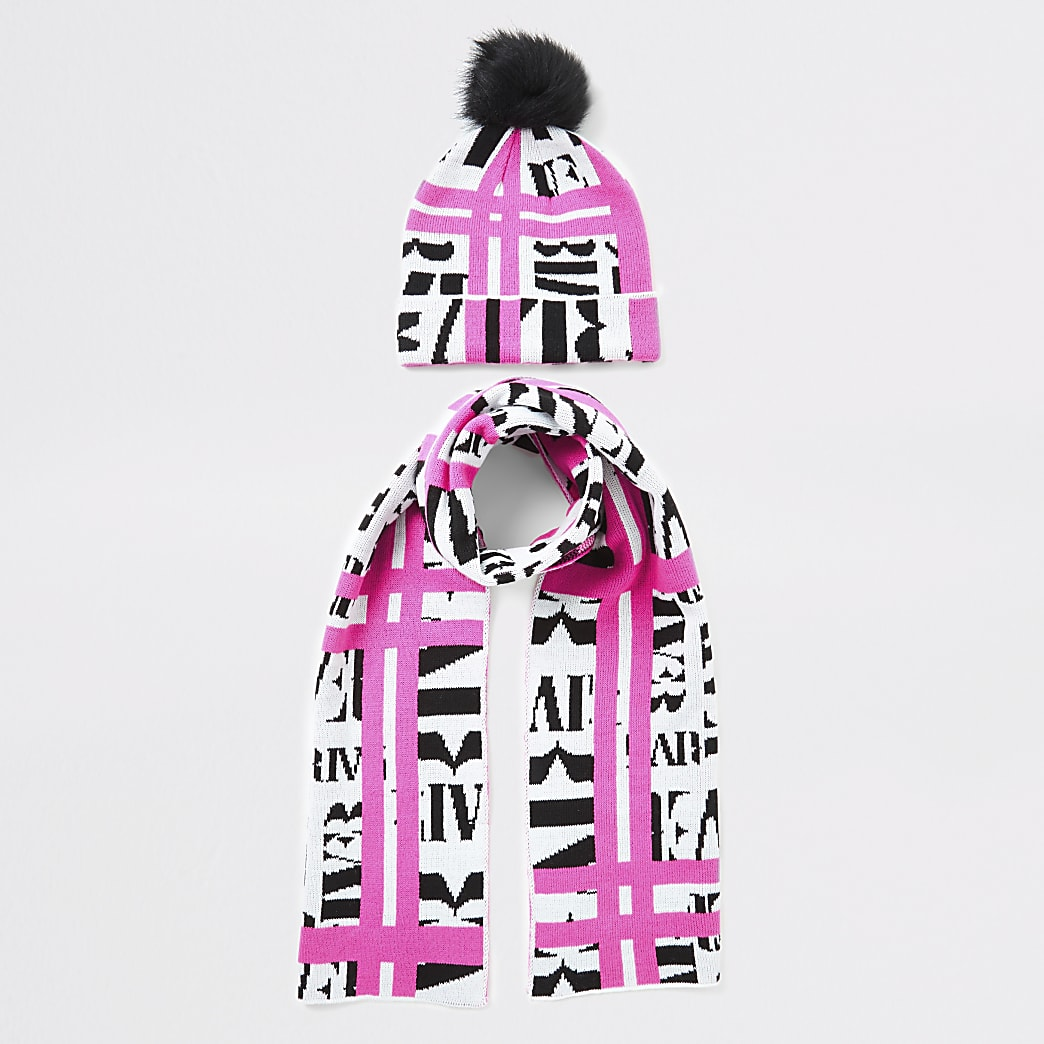 Girls neon pink RI print scarf and hat set