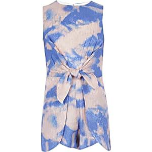 Combishort bleu tie dye orné d'un nœud sur le devant pour fille