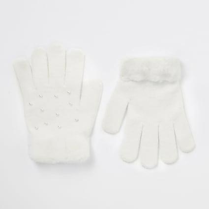 Girls white pearl faux fur trim gloves