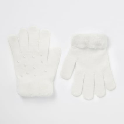 Girls white pearl faux fur trim gloves