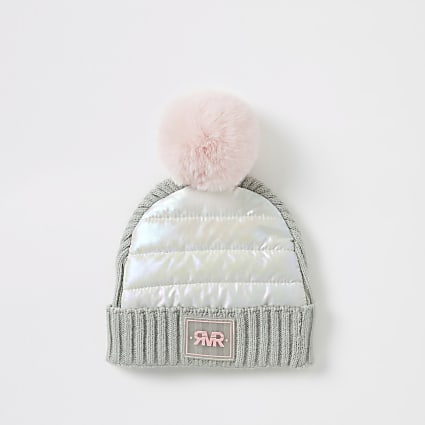 Mini girls grey padded faux fur pom pom hat