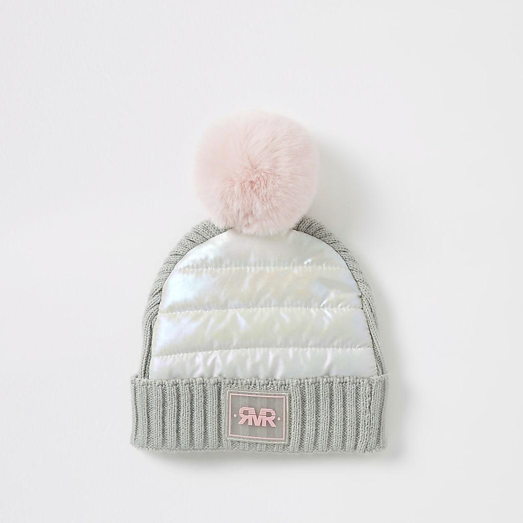 Mini girls grey padded faux fur pom pom hat