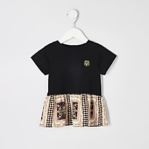 57d3785fe1043 Mini girls black baroque peplum hem T-shirt