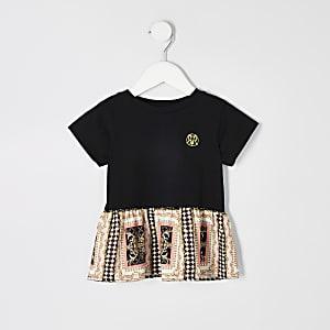 Mini - Zwart T-shirt met peplum en barokprint voor meisjes