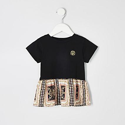 Mini girls black baroque peplum hem T-shirt